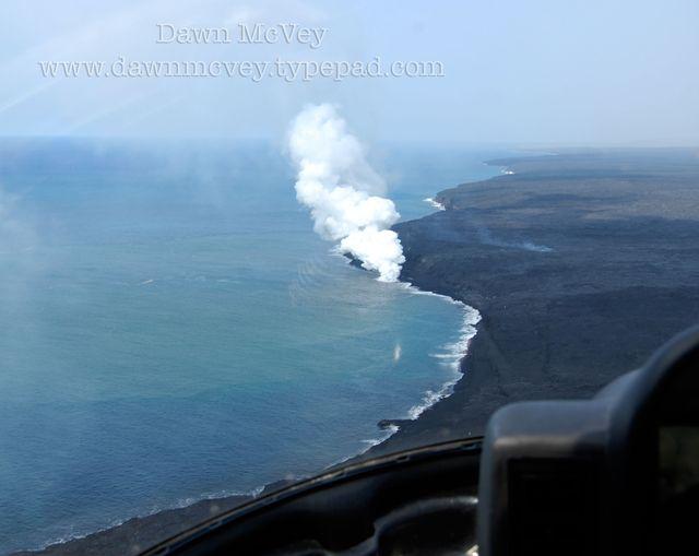 Volcano Spilling Lava Into Ocean